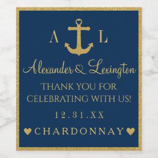 Gold and Navy Blue Anchor Monogram Wedding Wine Label