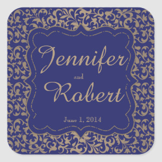 Gold and Navy Blue Filigree Wedding Envelope Seal Square Sticker