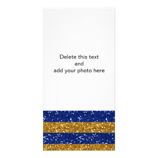 Gold and Navy Blue Glitter Stripes Printed Photo Card Template