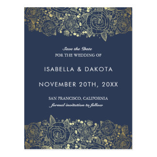 Gold and Navy | Chic Floral Save the Date Postcard