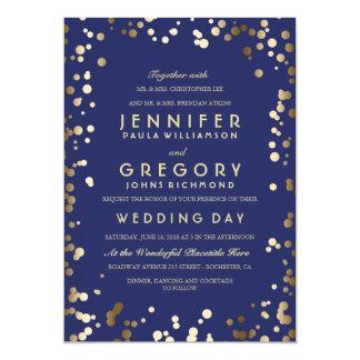 Gold and Navy Confetti Wedding Invitations