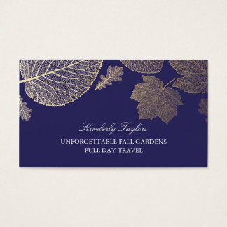 Gold and Navy Fall Leaves Elegant Business Card