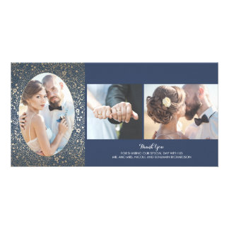 Gold and Navy Floral Photo Wedding Thank You Card
