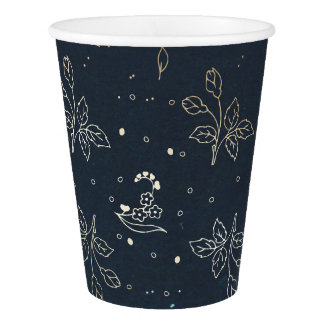 Gold and Navy Floral Vintage Wedding Paper Cup