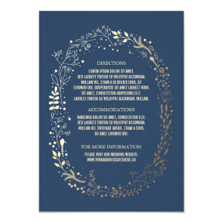Gold and Navy Floral Wreath Wedding Details 11 Cm X 16 Cm Invitation Card