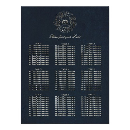 Gold and Navy Floral Wreath Wedding Seating Chart