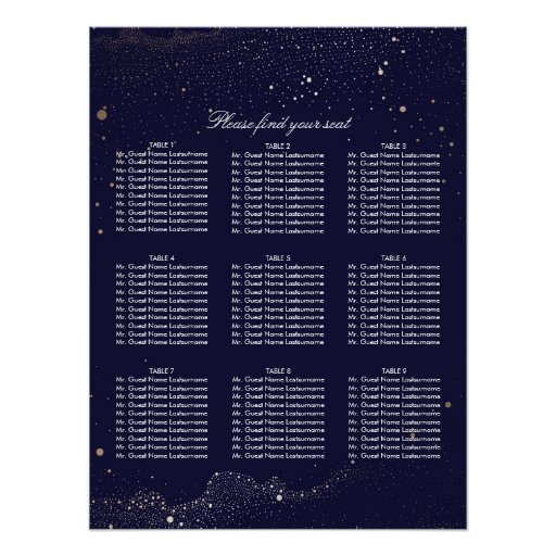 Gold and Navy Night Stars Wedding Seating Chart