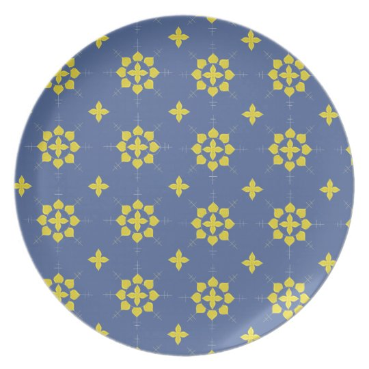 Gold and Navy Pattern Melamine Plate