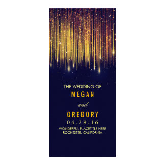 Gold and Navy String Lights Wedding Programs Rack Card Design