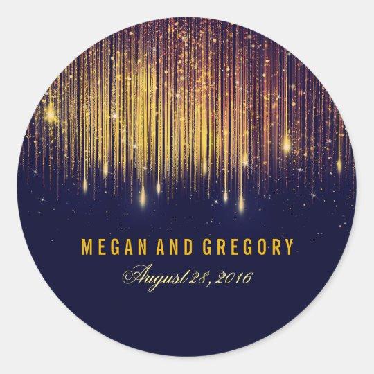 Gold and Navy String Lights Wedding Round Sticker