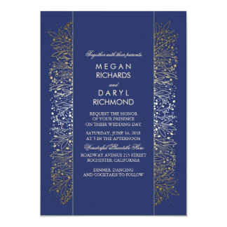 Gold and Navy Vintage Baby's Breath Wedding Card