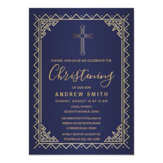 Gold And Navy Vintage Calligraphy Christening Invitation