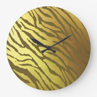 Gold and Olive-Brown Tiger Striped Large Clock
