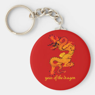 Gold and Orange Dragon for Chinese New Year Basic Round Button Key Ring