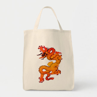 Gold and Orange Dragon for Chinese New Year Grocery Tote Bag