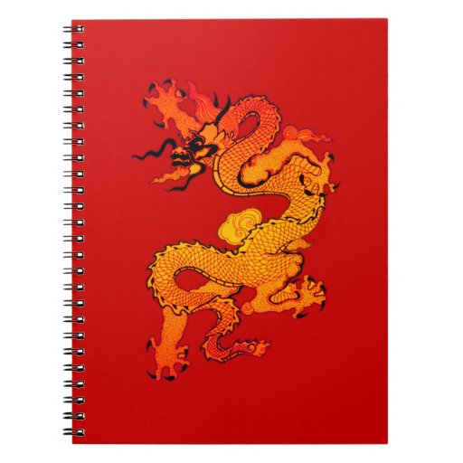 Gold and Orange Dragon for Chinese New Year Spiral Notebook