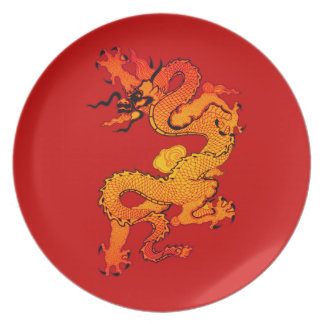 Gold and Orange Dragon for Chinese New Year Plate