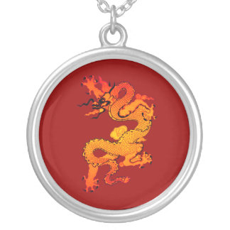 Gold and Orange Dragon for Chinese New Year Round Pendant Necklace