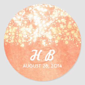 gold and peach string lights rustic wedding classic round sticker
