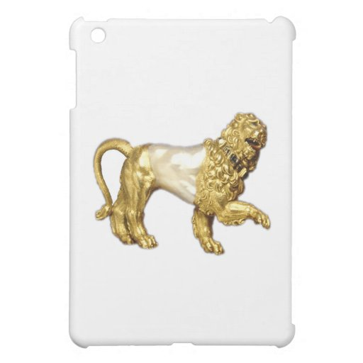 Gold and Pearl Jeweled Lion art iPad Case iPad Mini Case
