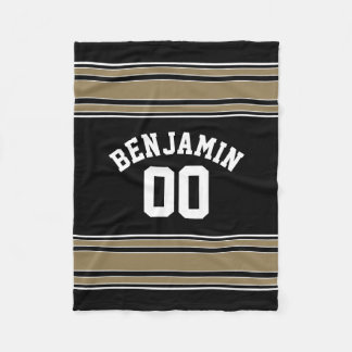 GOld and PICK COLOR Striped Sports Jersey Name Fleece Blanket