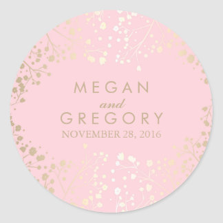 Gold and Pink Baby's Breath Wedding Classic Round Sticker