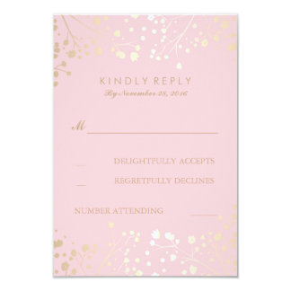 Gold and Pink Baby's Breath Wedding RSVP Cards 9 Cm X 13 Cm Invitation Card