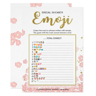 Gold and Pink Bridal Shower Emoji Pictionary Game Card