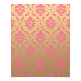 Gold and Pink Classic Damask 11.5 Cm X 14 Cm Flyer