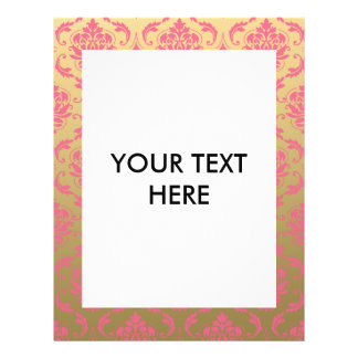 Gold and Pink Classic Damask 21.5 Cm X 28 Cm Flyer