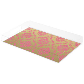 Gold and Pink Classic Damask Acrylic Tray