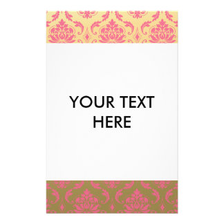 "Gold and Pink Classic Damask 5.5"" X 8.5"" Flyer"