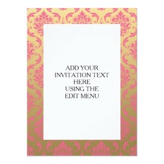 Gold and Pink Classic Damask 17 Cm X 22 Cm Invitation Card