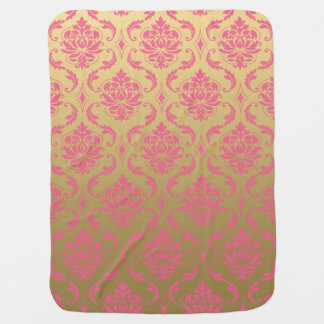 Gold and Pink Classic Damask Receiving Blanket