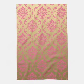 Gold and Pink Classic Damask Tea Towel