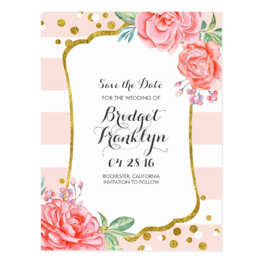 gold and pink floral confetti stripe save the
