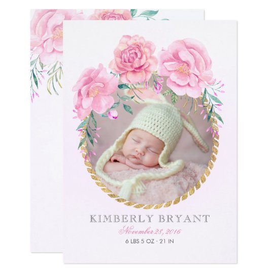 Gold and Pink Floral Watercolor Sweet Baby Birth