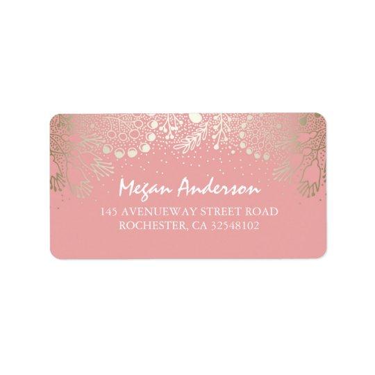 Gold and Pink Garden Wonderland Wedding Label