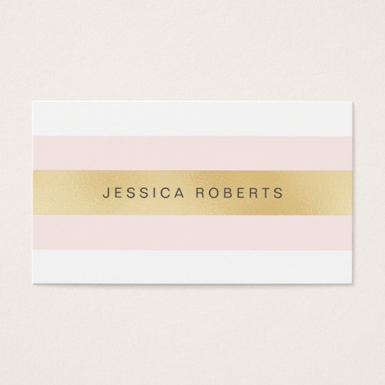 Gold and Pink Girly Stripes Business Cards