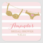 Gold and Pink Lingerie Bridal Shower Favour Square Sticker