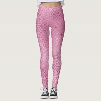 Gold and Pink Mermaid Scales Leggings
