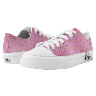 Gold and Pink Mermaid Scales Low Tops