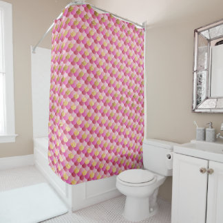 Gold and Pink Mermaid Scales Shower Curtain