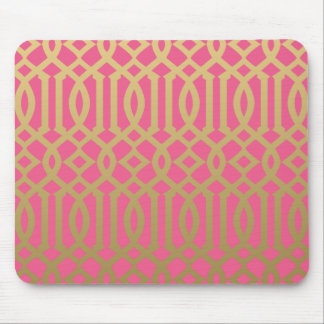 Gold and Pink Modern Trellis Pattern Mouse Mat