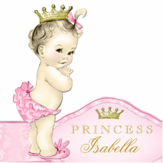 Gold and Pink Princess Baby Girl Standing Photo Sculpture