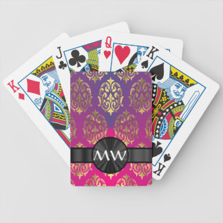 Gold and pink purple damask bicycle playing cards