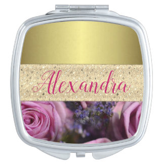 Gold and Pink Roses Personalized Vanity Mirror