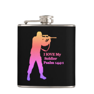 Gold and pink solder snipper hip flask