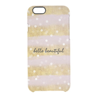 Gold and Pink Stripes Bokeh Confetti Clear iPhone 6/6S Case