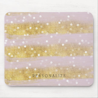 Gold and Pink Stripes Bokeh Confetti Mouse Mat